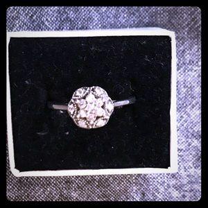 Sterling Silver Intricate Diamond Design Ring